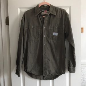 Vintage Levi's military green button down shirt